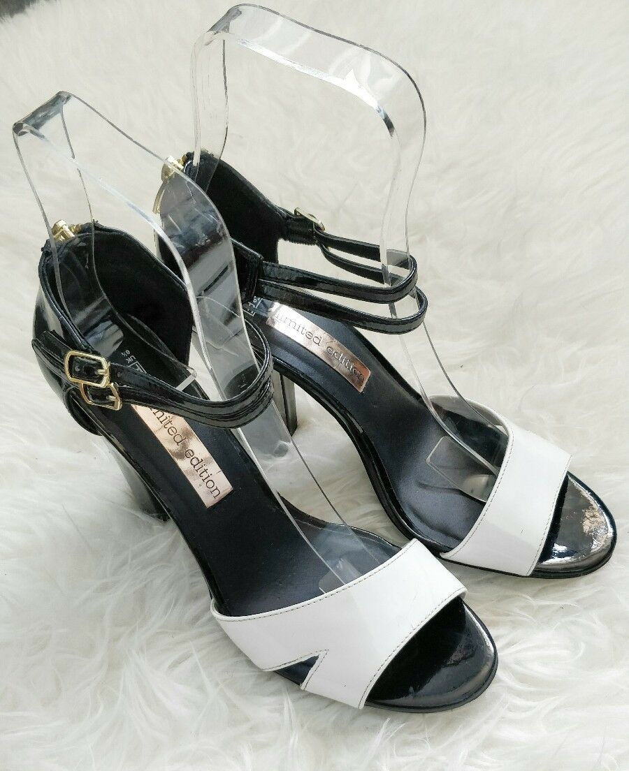F&F Limited Block Editiin Ladies Monochrom Black White Block Limited Heel Sandals Shoes f233f6