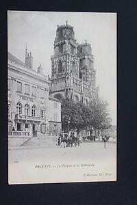 Tarjeta-Postal-Antigua-CPA-Animada-Orleans-El-Teatro-y-La-Catedral