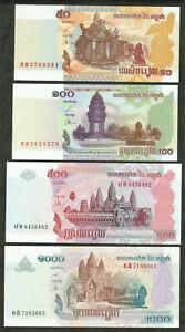 100% Wahr Cambodia Kambodscha, P 52-58: 50+100+500+1000 Riels Unc