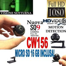 TELECAMERA SPIA MICROCAMERA FULL HD NASCOSTA NIGHT VISION MINI SQ9 + SD 16GB