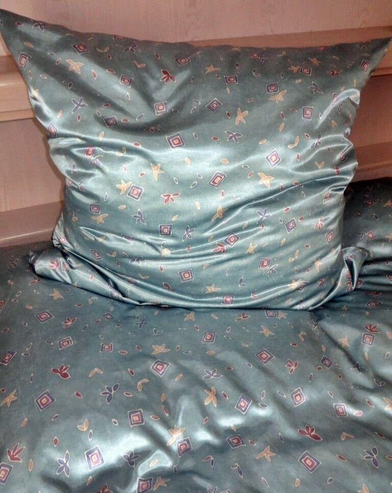 Bettwäsche Satin Glanzsatin Polyestersatin gemustert Grün Größe 135x200 cm