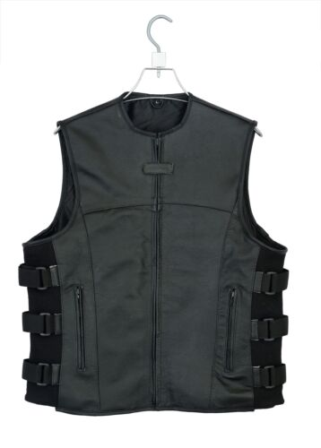 Men/'s SWAT Tactical Motorcycle Leather vest with two concealed gun pockets