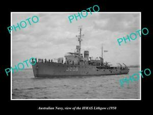 OLD-6-X-4-HISTORIC-PHOTO-OF-AUSTRALIAN-NAVY-SHIP-HMAS-LITHGOW-c1950