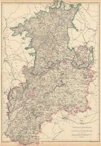 Adaptable Severn/avon Valleys 'worcestershire & Gloucestershire'.railways.weller 1863 Map Art Maps, Atlases & Globes