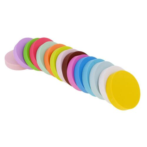 15x Multicolor Round Rubber Stamp Carving Blocks for DIY Stamp Hobbies 5x1cm