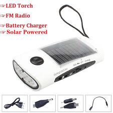 Emergency Hand Crank Generator Solar AM/FM/WB Radio Flashlight Charger Red FJ
