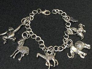 African animals safari charms tibetan silver w 8 bracelet ebay - Safari murano jewelry ...