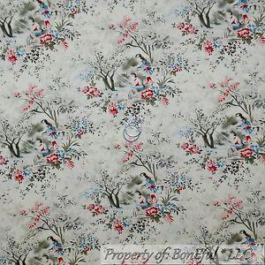 Boneful fabric fq cotton quilt vtg cream red blue flower for Toile shabby chic