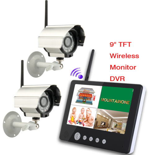 """9/"""" LCD Wireless Baby Monitor 4 Channel Quad Security System DVR With 2 Cameras"""