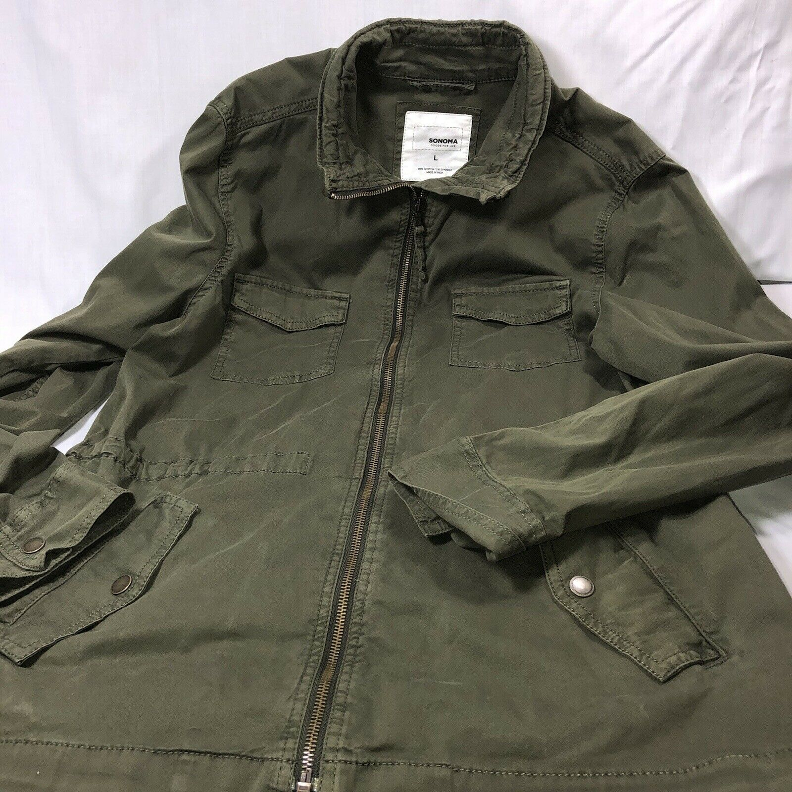 Sonoma Long Green utility jacket plus size L Pre-owned Snap Zip Draw String