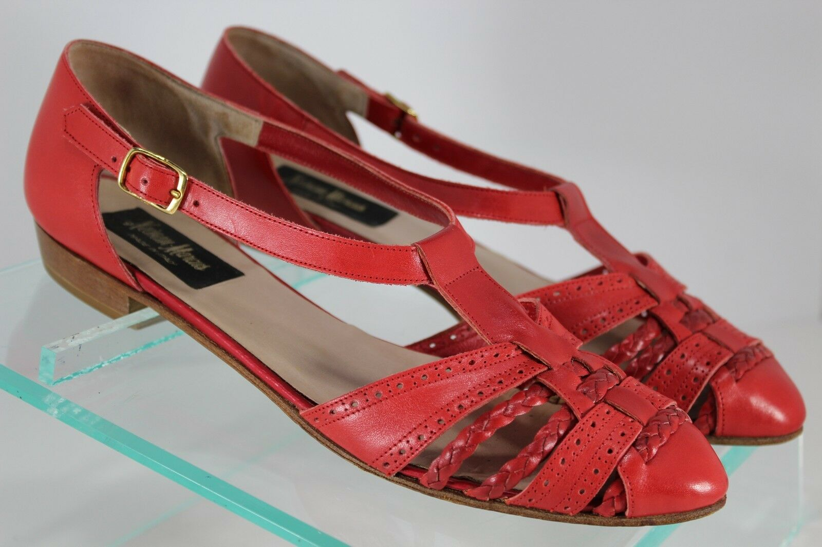 Neiman Marcus Womens 9N Red Tooled and Braided Leather Sandals Flats