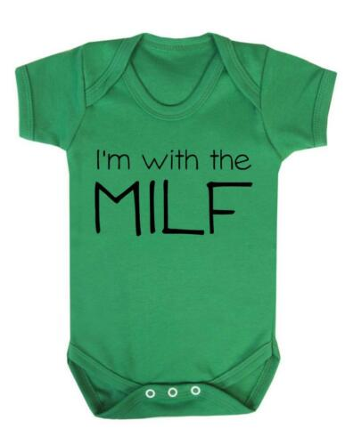 "Joke  Baby Suit Baby Grow Mummy Baby Bodysuit  /""Im With the MILF/"" Funny"