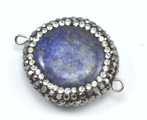 1x  Gemstone Rhinestone Crystal Pave Connector Pendant Focal Bead