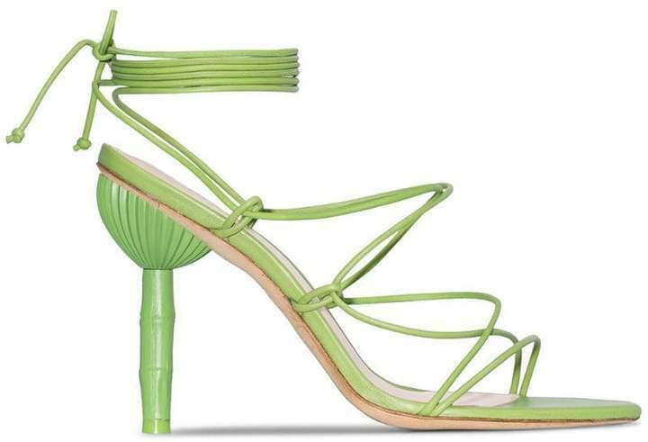 CULT GAIA Lime Green Soleil Bamboo Heel Wrap Sandals shoes - size 39