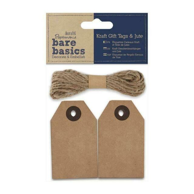 Papermania Bare Basics 20 Kraft Eyelet Tags With Jute String Scrapbooking Crafts