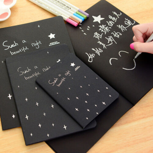 Notebook Diary Black Paper Notepad Sketch Graffiti Notebook for Drawing、2018