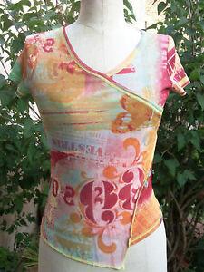 haut-top-T-shirt-voile-T1-36-JAQUELINE-RIU-multicolore-col-V-pres-du-corps-neuf