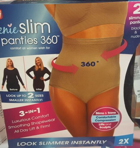 2 Genie Slim Panties 360 Large Black /& Nude New Shapewear CHOOSE SIZE Fast Ship