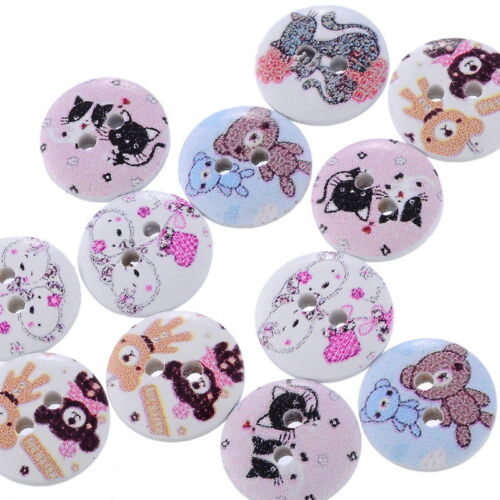 """100PCs Wood Sewing Buttons 2 Holes Animal Pattern Round Mixed  5//8/""""Dia.B24572"""