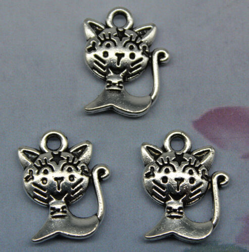 Free ship retro style Lovely big face the cat alloy charms pendant