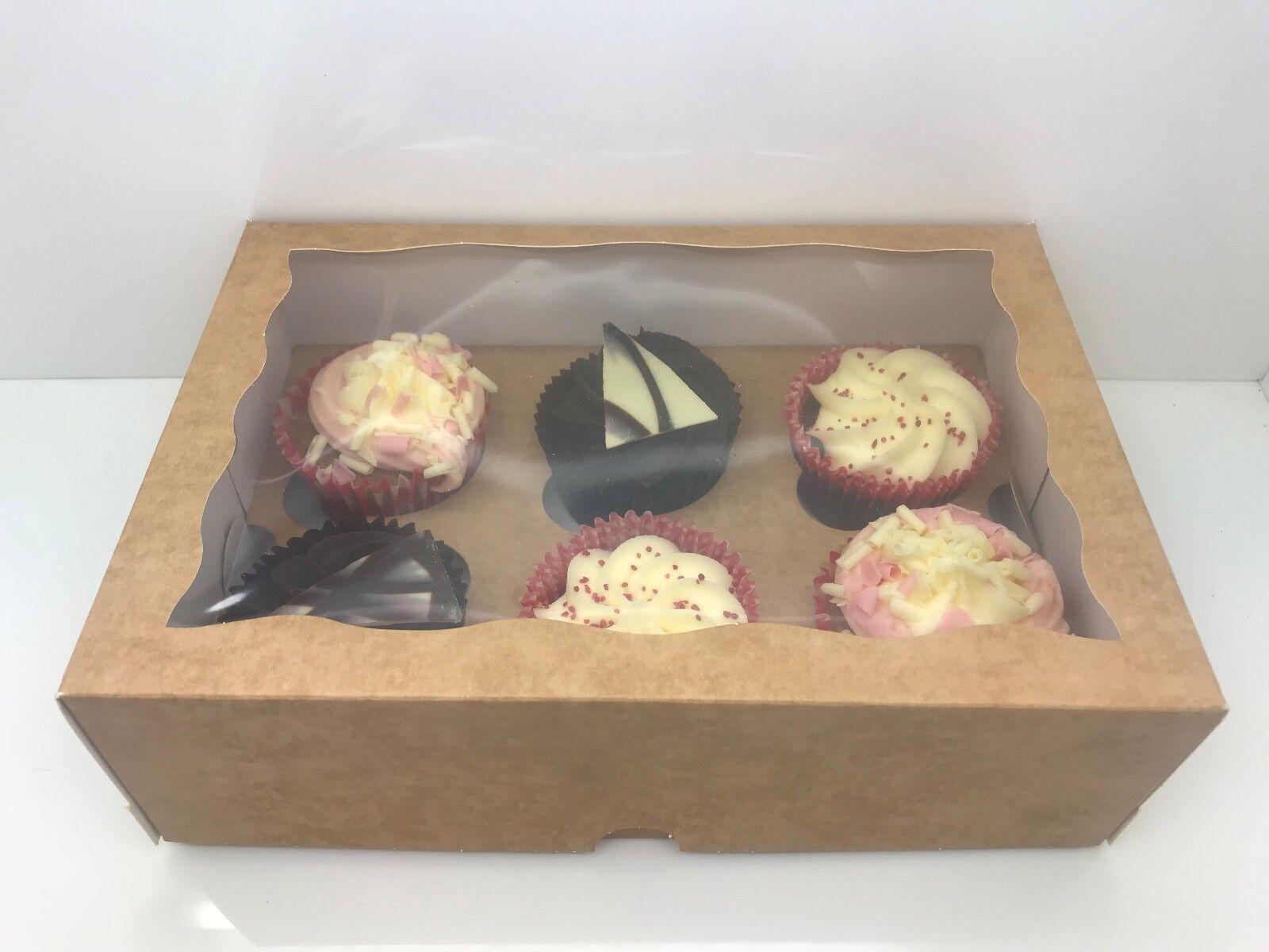 Premium 6, fenêtré Kraft Cupcake Boîtes pour 1, 2, 4, 6, Premium 9, 12 & 24 Tasse Cakes & BAC 5e72a3