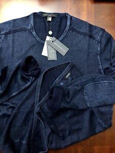 John-Varvatos-Star-Heather-Navy-Acid-Wash-Patch-Sleeve-Sweater-Size-Large-178