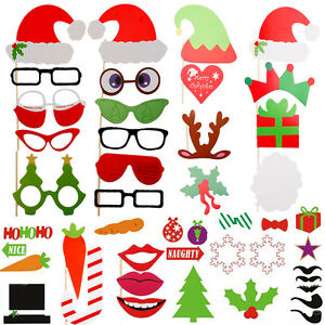 Photo Booth Weihnachten.Details Zu 50tlg Weihnachten Party Foto Maske Schnurrbart Brille Photo Booth Props Set