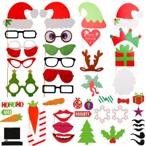50tlg Noël fête photo Masque Moustache Lunettes Photo Booth Props Set