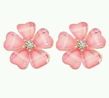 #1163 Fashion Women Petals Pink Flower Crystal Rhinestone Ear Stud Earrings