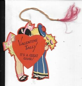 1930s Bridge Tally Card Valentines Day Theme Children Kissing 4