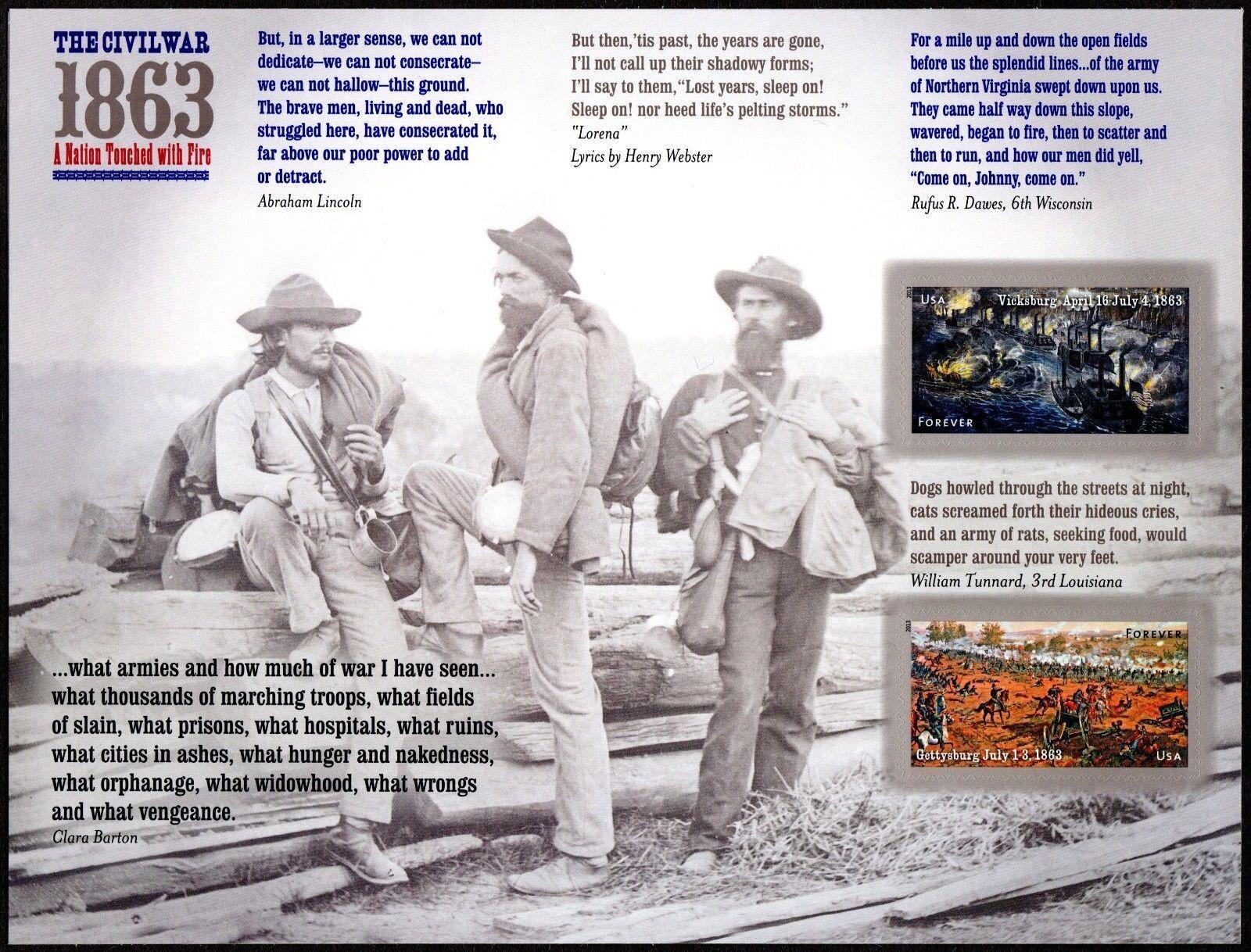 2013 46c Civil War 1863 Vicksburg & Gettysburg Scott 47