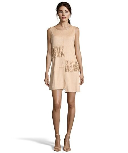 Romeo and Juliet Couture NWT  Fringe Faux Suede Hippie Boho Tan Dress Size S
