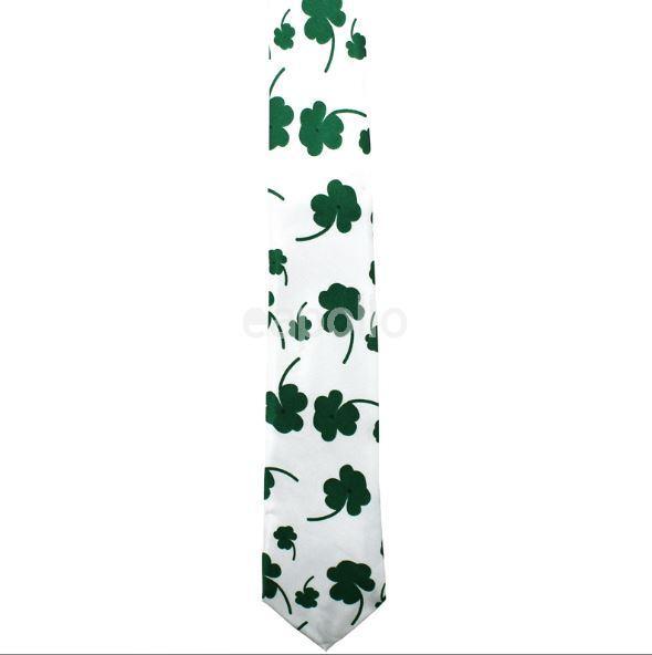 Unisex Novedad elaborado vestido blanco y corbata de Hoja Verde Trébol Irlandés Grande Nuevo