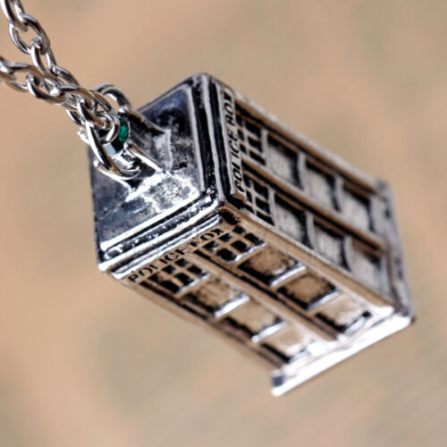 Doctor Who TARDIS Police Box Pendant Necklace Sweater Chain Silver Color MA
