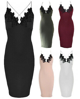 NEW LADIES CELEBRITY STYLE CROCHET LACE TRIM CROSS BACK MIDI DRESS SIZE 6-12