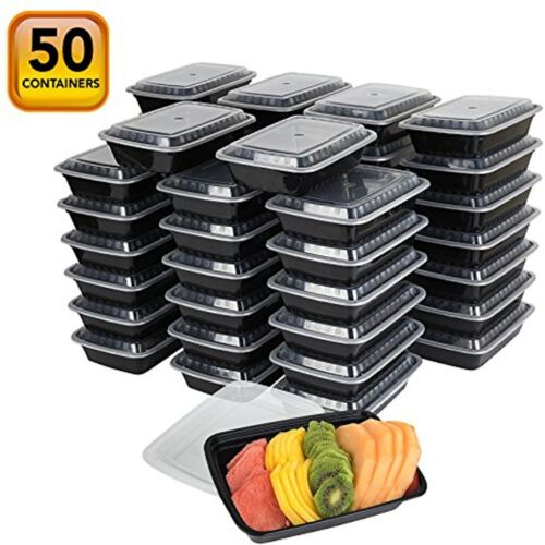 50-Pack Meal Prep Plastic Microwavable Food Containers Prepping Tight Safety Lid