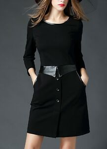 Black-Casual-Dress-with-Side-Pockets-Size-8-14