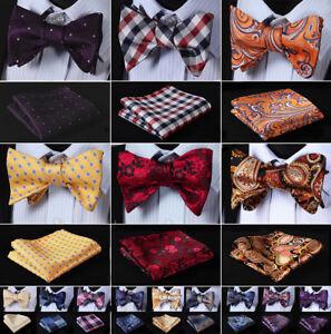 Hisdern-Mens-Red-Bow-Tie-Paisley-Plaid-Woven-Silk-Self-BowTie-Handkerchief-SetG8