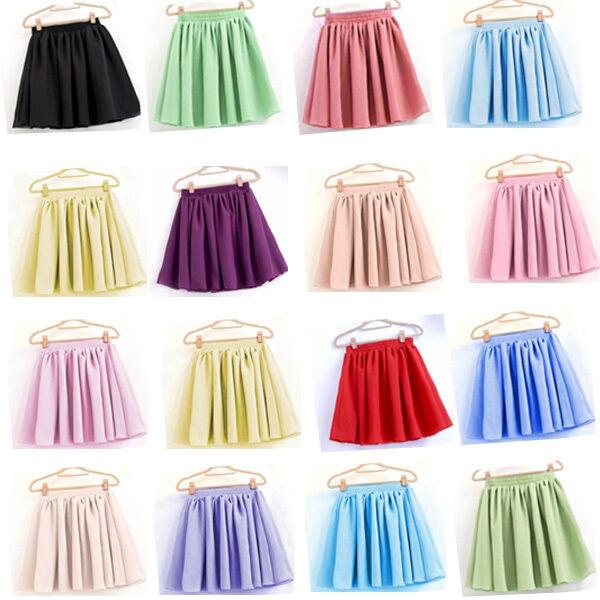 Women's High Waist Skirt Plain Skater Flared Pleated Short Elastic Mini Dresses