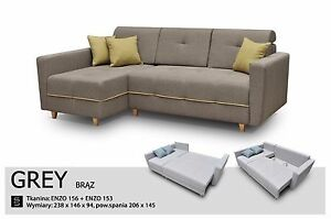 Details About Grey Left Or Right Corner Sofa Bed 4 Seater Fabric Comfy Couch L238xw146cm