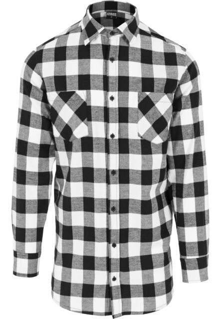 5edaeed24c Urban Classics larga franela a cuadros camiseta camisa de hombre ...