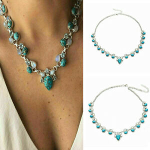Vintage-Gemstone-Flower-Turquoise-Silver-Chain-Pendant-Necklace-Jewelry-Gift