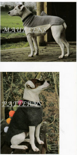Knitting Pattern to MAKE Dogs Coats Jackets Shark or Pom Poms Easy Knits DK