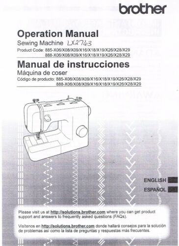 Brother LX2763 SM2700 3701 XL3700 XM2701 3700 XR53 XR3774 User Guide Manual Book