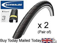 "Pair 2 or 1 26"" x 1-3/8"" 37-590 SCHWALBE Delta Cruiser Anti Puncture Black Tyres"