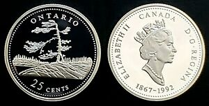 1992-Canada-125th-Ontario-25-Cents-Silver-Proof-Quarter