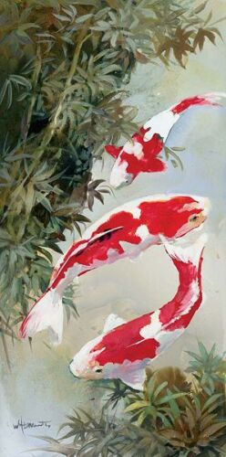 koi I stretcher-image screen fish Asia-style Details about  /Willem haenraets show original title