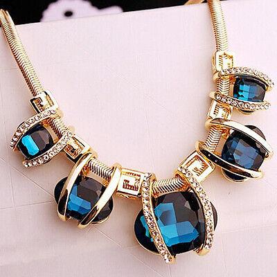 Pendant Chain Choker Blue Crystal Statement Necklace Bib Chunky Luxury Jewelry