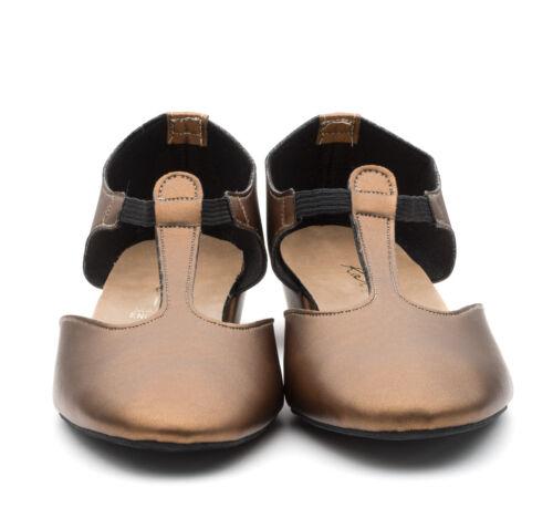 Ladies Girls Bronze Metallic PU Dance Greek Sandal Teaching Ballroom Shoe Katz