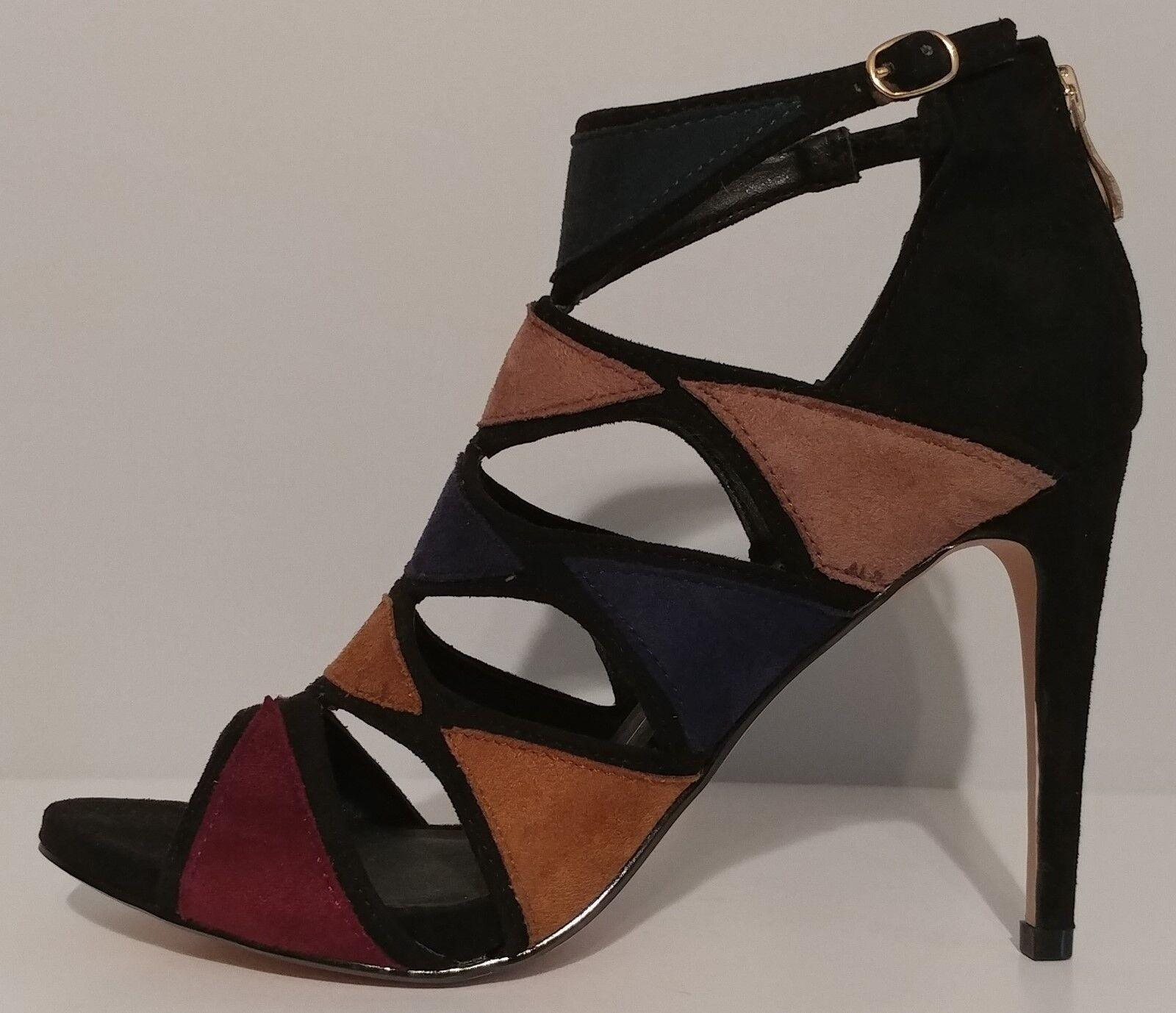 NEW   XOXO Multi color Suede Sandals 4  Heels Size 8.5M US 38.5M EUR